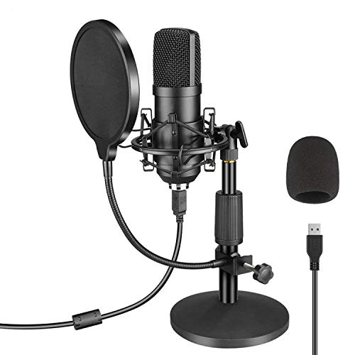 USB Microphone Kit 192KHZ/24BIT LANIC Plug & Play PC Condenser Mic with Stand Music Microphone for Recording Podcast Streaming YouTube Gaming