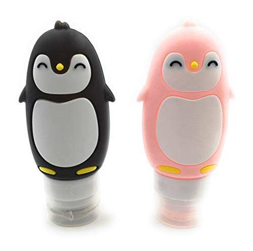 Pack of 2 Silicone Penguin Bottles (Pink-Black)