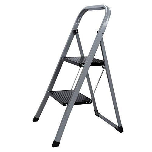 Hengda Trittleiter 2 Stufen klappbar, Klapptritt aus Metall mit Haltebügel und gummierten Stufen, Haushaltsleiter Stufenleiter platzsparend, bis 150 kg belastbar