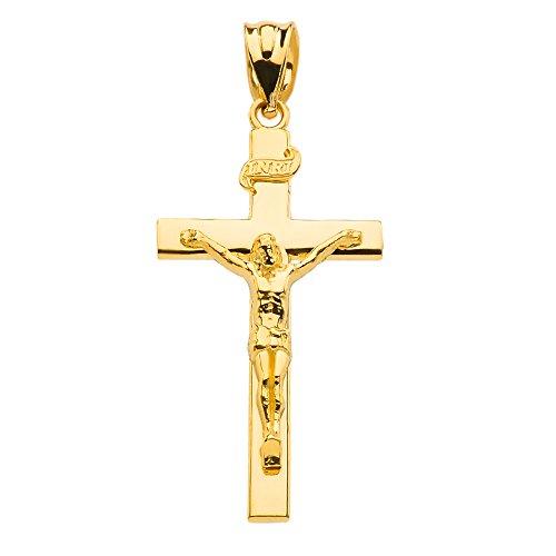 Fine 14k Gold Linear Cross INRI Crucifix Charm Pendant