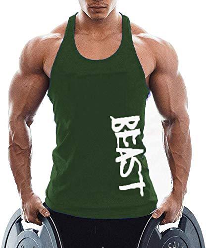 TX Apparel Herren Tanktop Beast Gym Stringer Shirt Baumwolle, Armeegrün, M