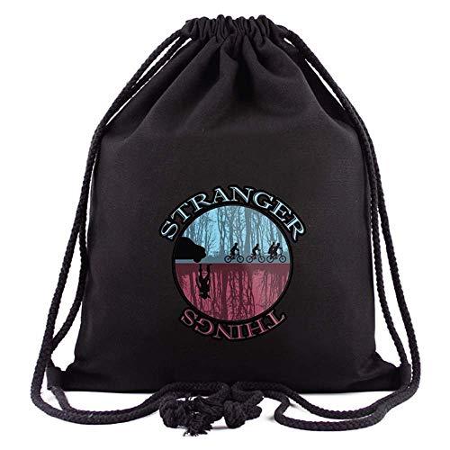 FEIDIAO Stranger Things Black Drawstring Backpack Stranger Things Gym Sack Drawstring Bag Sports Travel Bag Drawstring Pocket School Bag (G)