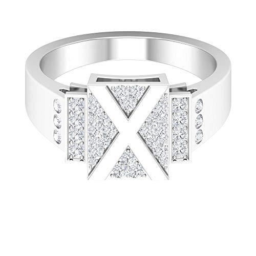 Anillo inicial X, letra alfabeto, anillo de diamante HI-SI 1/2 quilates, anillo de compromiso personalizado, anillo de declaración de boda, anillos de promesa para mujeres, 14K Oro blanco, Size:EU 52