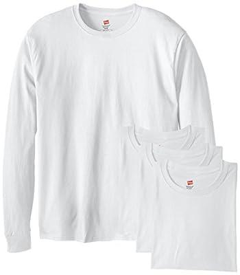 Hanes Men's 4 Pack Long Sleeve Comfortsoft T-Shirt, White, Medium