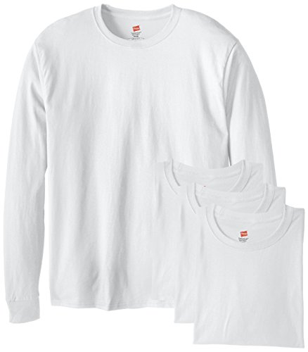 Hanes Men's 4 Pack Long Sleeve Comfortsoft T-Shirt, White, Medium