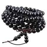 KYEYGWO Mala Bracelet Perlé, Élastique Protection Collier Bouddhiste de 108 Perles en Bois avec Nœud Chinois 25', Bois D'ébène Noir