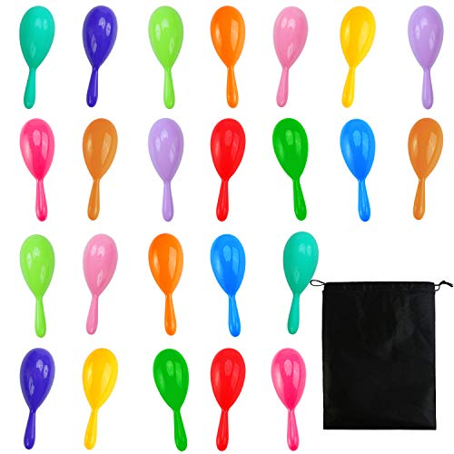 Resinta 24 Pieces Neon Maracas Shakers 12 Colors Mini Noisemaker Bulk Colorful Noise Maker with Drawstring Bag for Mexican Fiesta Party Favors Classroom Musical Instrument, 4 Inch