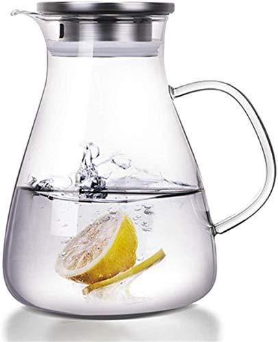 Tetera Pitcher Tetera de cristal de agua fría del jugo de Hielo jarra con tapa de acero inoxidable Jarra de vidrio borosilicato Hervidor de jugo de vino tinto 1600ml leche fría de hielo de agu