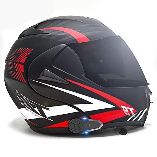 Casco modular Bluetooth integrado, casco de motocicleta Certificación ECE/DOT 2-3 personas Función de llamada instantánea Four Seasons Travel Pink Lady 10,XL