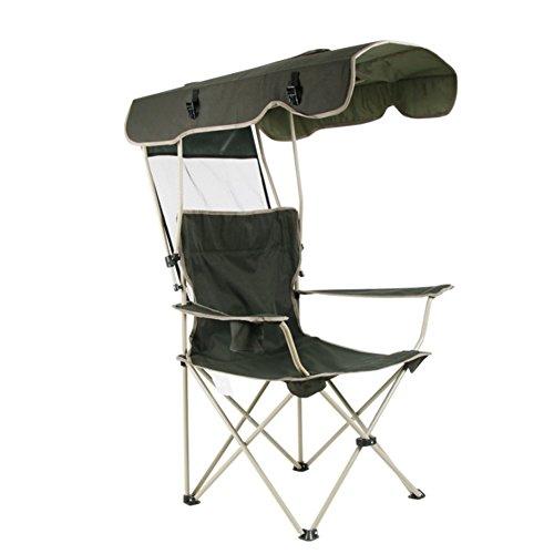 HM&DX Sillas de Camping Plegables Exteriores con Dosel de Sombra,Protección contra el Sol Portátil Heavy Duty Sillas de Camping con portavasos para Jardín de Pesca de Playa -Ejercito Verde