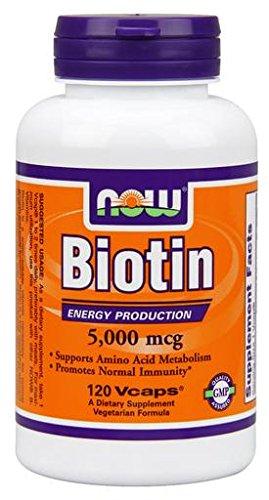 Now 5,000 mcg Biotin 120 Veg Capsules