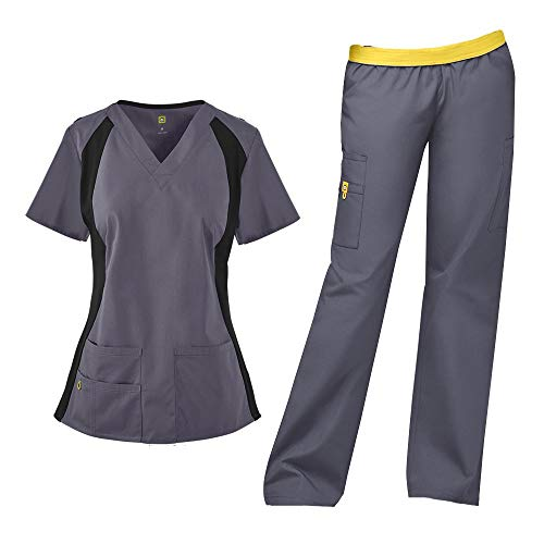 WonderWink Origins Women's Lima 5 Pocket V-Neck Top 6096 & Quebec Full Elastic Cargo Pants 5016 Scrub Set (Pewter - XXX-Large/XXL Tall)
