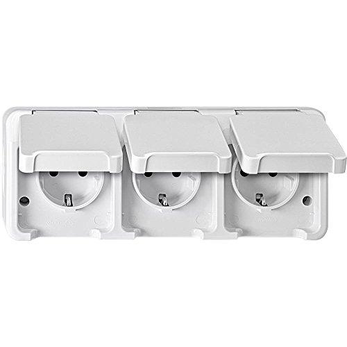 Merten MEG2390-8019 SCHUKO-Dreifach-Steckdose, waagerecht angeordnet mit BRS, polarweiß, AQUASTAR, White