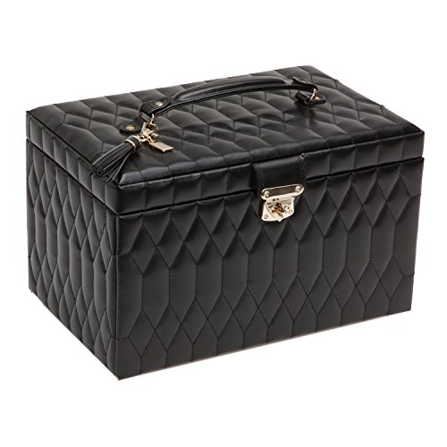 WOLF Caroline Large Jewelry Case, 8.5x13x8.25, Black