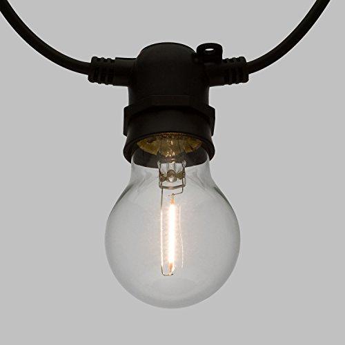 Guirlande lumineuse de fête avec 10 ampoules LED E27 Blanc chaud 5 m Ø 6 cm Câble noir