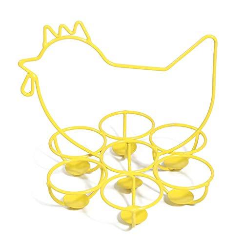 DXQDXQ Soporte de Almacenamiento de Huevos Canasta de Huevos Rústica Estante de Metal Soporte Estante Dispensador de Huevos Organizador de 7 Huevos para Encimera de Cocina (Color : White)