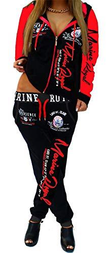 Jaylvis Damen Jogginganzug Trainingsanzug Hose + Jacke 2tlg Set Fitness ARMS A.2254 Schwarz-Rot M 40