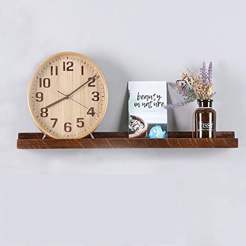 Oak Solid Wood Floating Shelves Wall Mounted, Picture Ledge Wall Shelves Storage Shelves Hanging Self Display Ledge Storage Rack for Bedroom, Living Room, Bedroom, Kitchen, Office (Walnut, 24')