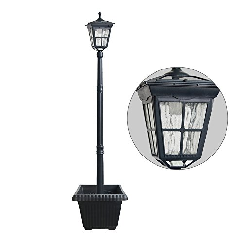 Kemeco ST4311AHP LED Aluminum 76' Outdoor Garden Solar Lamp Post Light Waterproof with Planter for Outside Landscape Pathway Street Patio Yard Lawn Deck