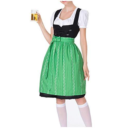 LOPILY Trachtenkleid Damen 3 TLG Dirndl Maxi Bayerische Trachtenmode für Oktoberfest Dirndl Komplettsets Trachtenbluse Trachtenschnürze Spitzen Stickerei Dirndl Mode Bierfest (Grün, DE-38/CN-L)