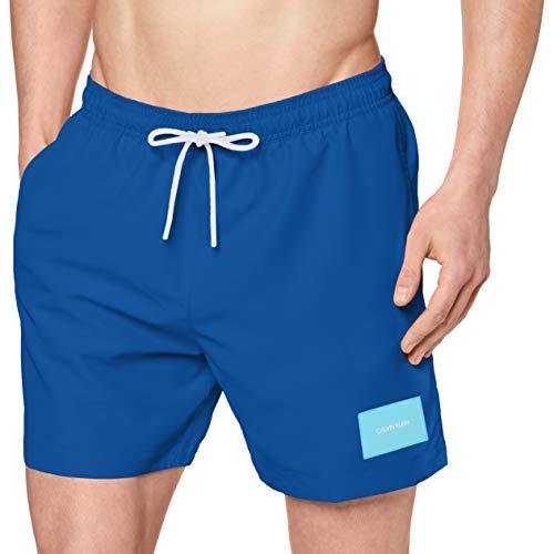 Calvin Klein Herren Medium Drawstring Badehose, Blau (Snorkel Blue CJR), Large