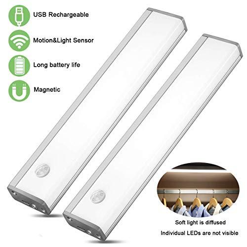 LED Sensor Licht,Sensor Schrank Licht,Nachtlicht unter Schranklicht Küchenleuchte USB wiederaufladbar für Kleiderschrank,Flur, Treppe, Küche, Keller, Garage, Schrank, Regal etc (20cm Kaltweiß 2pcs)