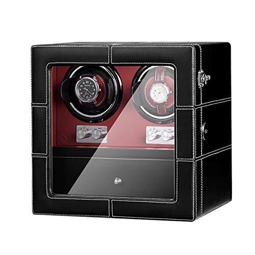 zyy Lujo Cuero De La PU Automático Cajas Giratorias para Relojes, 10 Modos, 2+4 Caja De Exhibición De Almacenamiento De Relojes, Motor Silencioso Adaptador De CA