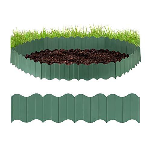 Relaxdays, grün Rasenkante Kunststoff, Gartenpalisade 6-teilig, zum Stecken, Beete begrenzen, für Garten, 12,5 cm hoch