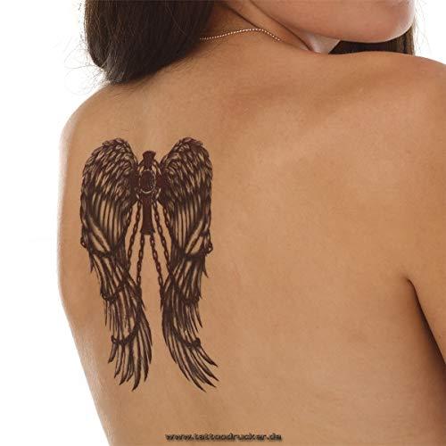 Engelenvleugels in kettingen met kruis XL tattoo - XL Body Temporary Tattoo - TH541