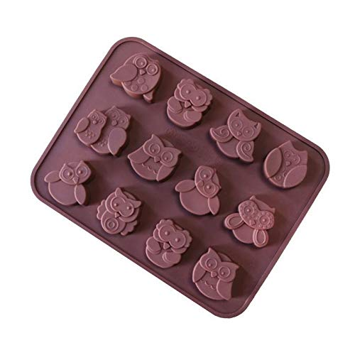 Best Buy! JYEMDV 12-hole Owl Shape Food Grade Silicone Forms Chocolate Cake Mold Candy, Jelly, Lolli...