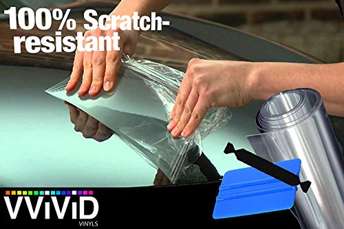 VViViD Clear Bra Paint Protection Bulk Vinyl Wrap Film Including 3M Squeegee and Black Felt Applicator (Bulk ROLL - 12 Inch x 240 Inch (20ft)