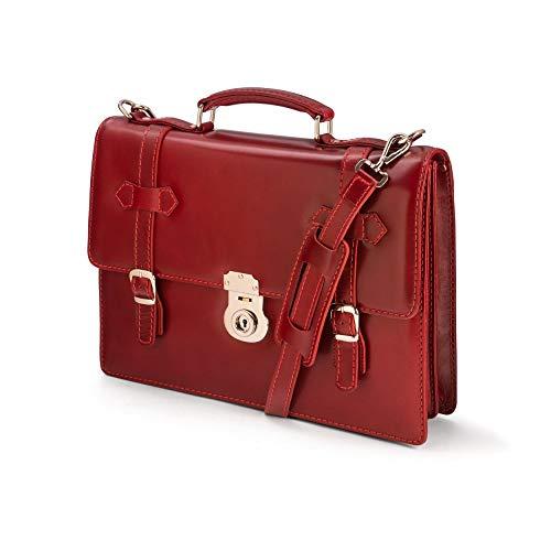 SAGEBROWN Red Vintage Cambridge Briefcase