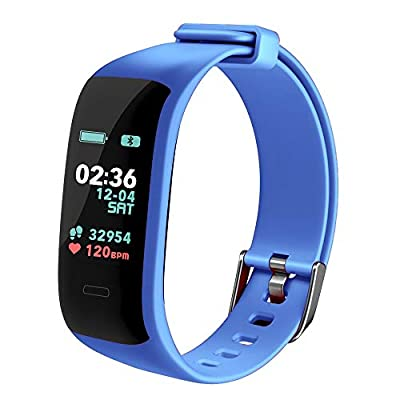 Fitness Tracker,Activity Tracker Watch with Heart Rate Blood Pressure Blood Oxygen Monitor,Waterproof Smart Fitness Band with Step Counter,Calorie Counter,Sleep Monitor for Kids Women and Men (BLU)