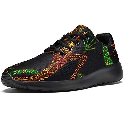 TIZORAX Laufschuhe für Damen Eidechse mit Ethnischem Tribal-Muster Mode Sneakers Mesh Atmungsaktiv Walking Wandern Tennis Schuh, Mehrfarbig - mehrfarbig - Größe: 39.5 EU thumbnail