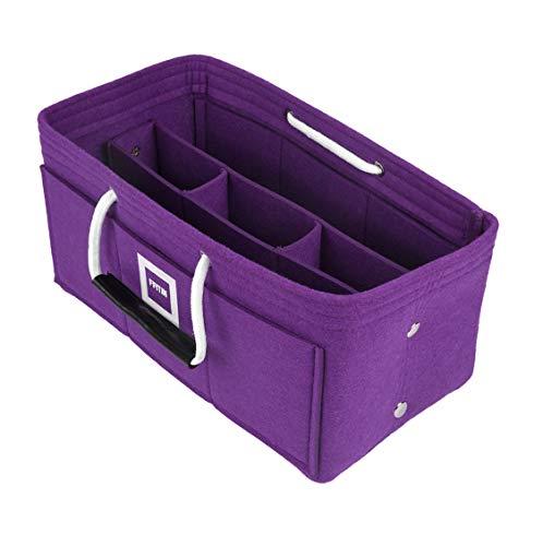 FFITIN Taschenorganizer Filz – Handtaschenorganizer mit Tragegriffen | Bag in Bag | XL Handtaschenordner (Violet Orchid, L - Large (28 x 15 x 15 cm))