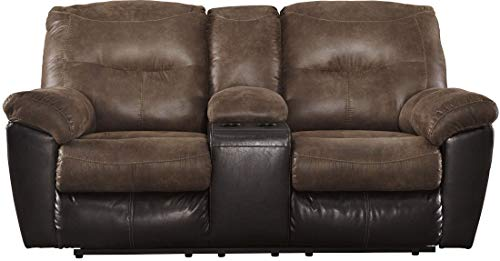 Signature Design by Ashley - Follett Casual Faux Leather Double Reclining Loveseat w/ Console - Brown