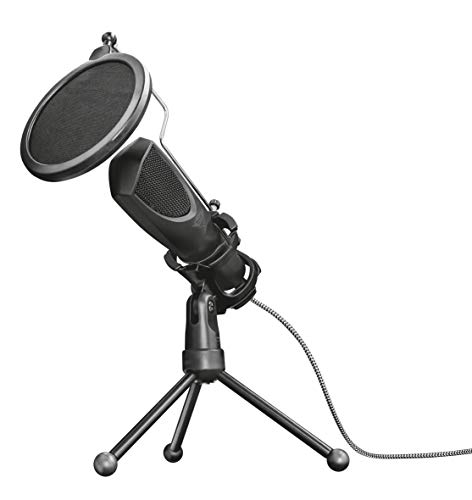 Trust Gaming GXT 232 Mantis Streaming Gaming Microphone for PC, PS4 and PS5, USB Connected, Including Shock Mount, Pop Filter and Tripod Stand - Black