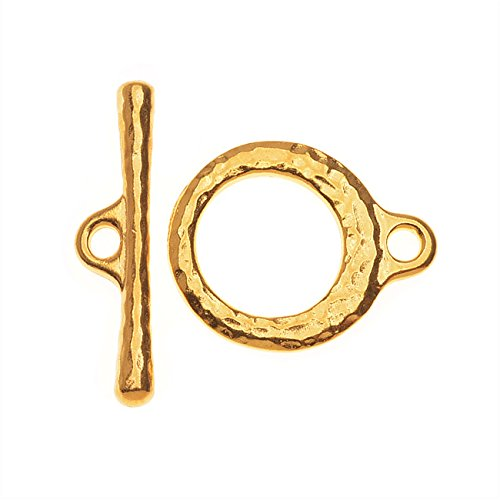 TierraCast Maker's Collection, Toggle Clasps, Hammered Craftsman 16.5mm, 1 Set, 22K Gold Plated (Toggle 1 Set)