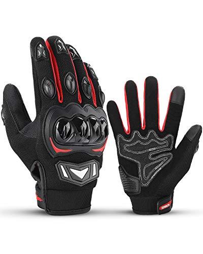 ISSYZONE Motorradhandschuhe, Motorrad Handschuhe Herren mit Hartknöchelschutz, Amtungsaktive Sport Handschuhe für Herren und Damen, für Motorradfahren, Fahrradfahren, Roller