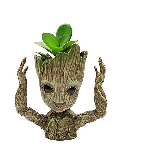 JIUCHEN Baby Groot bloempot met kunstmatige vetplant- Marvel Action Figuur uit Guardians of The Galaxy voor huis kantoor decoratie
