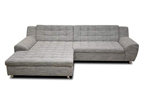 DOMO. collection Morton Ecksofa   Sofa mit Schlaffunktion in L-Form, Eckcouch mit Bett, weiß-grau, 304x200x84 cm