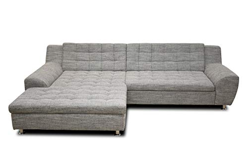 DOMO collection Morton Ecksofa | Sofa in L-Form, Eckcouch Polstergarnitur, weiß-grau, 304x200x84 cm