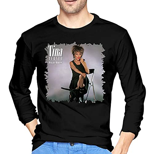 Casual Regular Fit Camisetas De Manga Larga Tina Turner Acero Garra De Los Hombres Camisetas De Manga Larga Negro