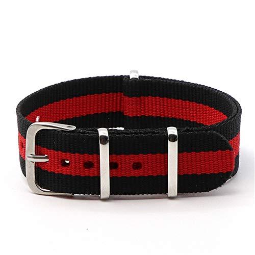 Correa ZZXS 18mm 20mm Cinturón de Tela de Nylon Accesorio Cinturón Hebilla Cinturón Negro 20mm Correa