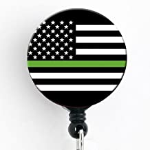 Thin Green Line Flag - Veteran Military - Retractable Badge Reel with Swivel Clip and Extra-Long 34 inch Cord - Badge Holder - Army, Navy, Air Force, Marines