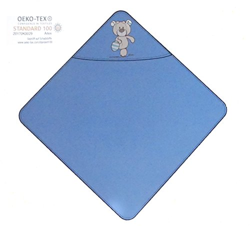 Nici Theodor & Friends Serviette de bain avec capuche 75 x 75 cm 100 % coton pour bébés et enfants à partir de 0 mois Bleu