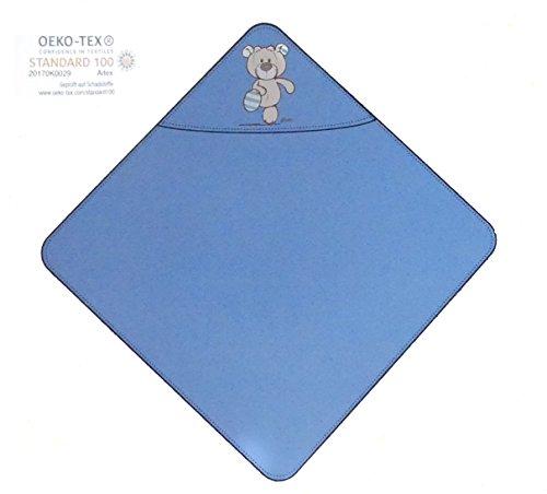 NICI Serviette de bain à capuche 75 x 75 cm 100 % coton pour bébé et enfant à partir de 0+ mois Theodor & Friends Bleu