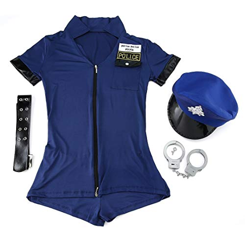Vestito uniforme della polizia delle donne sexy vestito per il costume di cosplay della chiusura lampo della poliziotta della festa di carnevale di Halloween Rona la vita