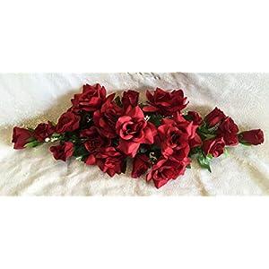 Silk Flower Arrangements Floral Décor Supplies for Swag Silk Roses Artificial Flowers Fake Wedding Arch Table Runner Centerpiece for DIY Flower Arrangement Decorations - Color is Burgundy/Wine
