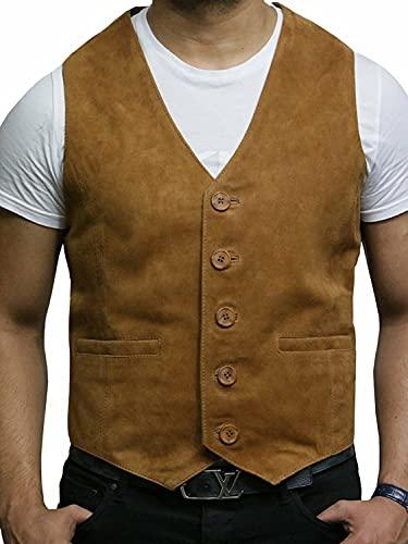BRANDSLOCK Chaleco de Cuero para Hombre de Smooth Exclusiva Cabra Suede clásico Tan Elegante Chaleco de Cuero (XL, Broncearse)